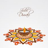 picture of laxmi  - Illustration of a colourful rangoli and a decorated illuminated lampion with stylish text - JPG