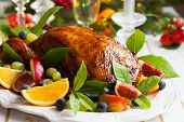 pic of roast duck  - Roasted Duck with fruits for Christmas - JPG