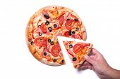 picture of take out pizza  - Male hand picking tasty pizza slice - JPG