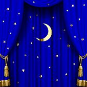foto of tassels  - Blue curtain with gold tassels - JPG