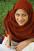 image of dupatta  - Indian female college student studying - JPG