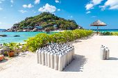 picture of yuan  - Diving tanks equipment at Nang Yuan island of Koh Tao island Thailand - JPG