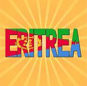 image of eritrea  - Eritrea flag text with sunburst vector illustration - JPG