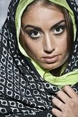stock photo of middle eastern culture  - Middle Eastern woman wearing head scarf - JPG