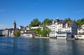 pic of zurich  - Limmat river and famous Zurich churches - JPG