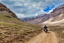 stock photo of himachal  - Bike on mountain road in Himalayas - JPG