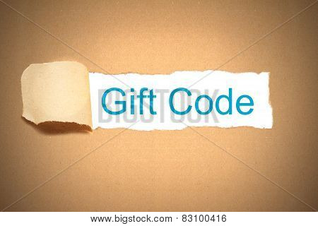 Brown Paper Torn To Reveal Gift Code