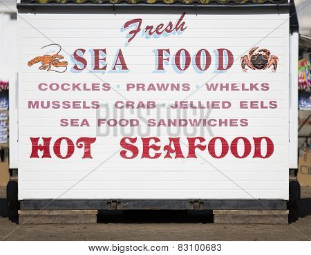 Sea Food Stall On Weston-Super-Mare Beach