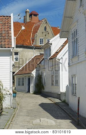 Exterior of the buildings of the old town in Stavanger, Norway.