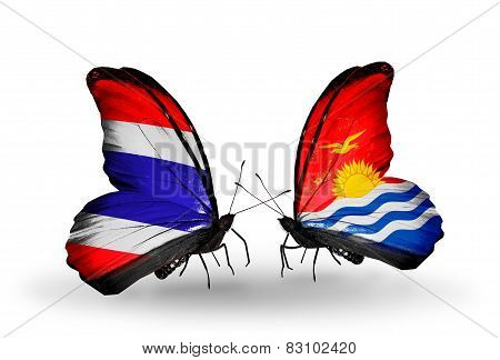 Two Butterflies With Flags On Wings As Symbol Of Relations Thailand And Kiribati