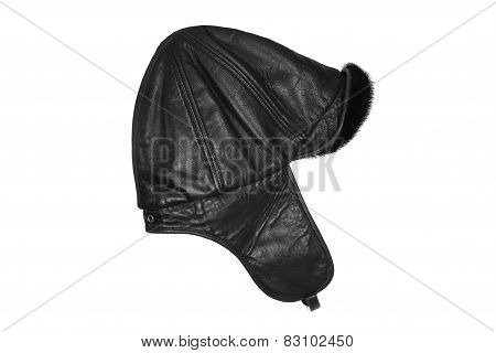 Leather Hat With Fur