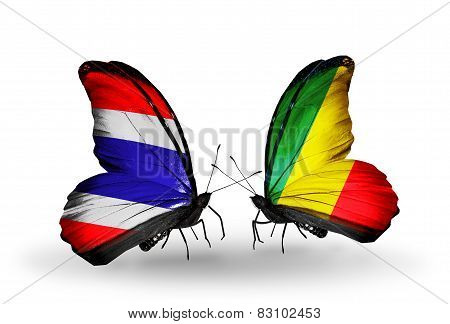 Two Butterflies With Flags On Wings As Symbol Of Relations Thailand And Kongo