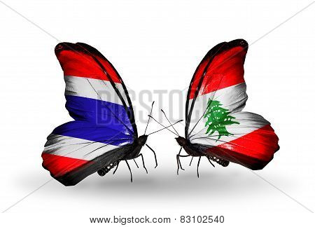 Two Butterflies With Flags On Wings As Symbol Of Relations Thailand And Lebanon