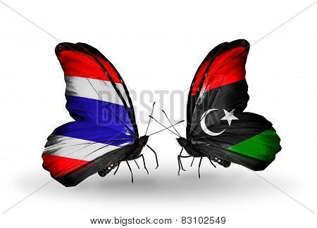 Two Butterflies With Flags On Wings As Symbol Of Relations Thailand And Libya