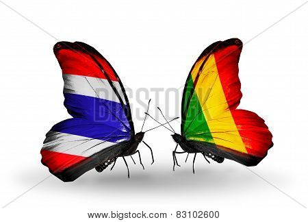 Two Butterflies With Flags On Wings As Symbol Of Relations Thailand And Mali