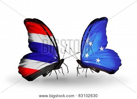 Two Butterflies With Flags On Wings As Symbol Of Relations Thailand And Micronesia