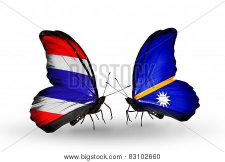 Two Butterflies With Flags On Wings As Symbol Of Relations Thailand And Nauru