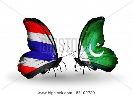 Two Butterflies With Flags On Wings As Symbol Of Relations Thailand And  Pakistan