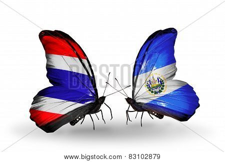 Two Butterflies With Flags On Wings As Symbol Of Relations Thailand And Salvador