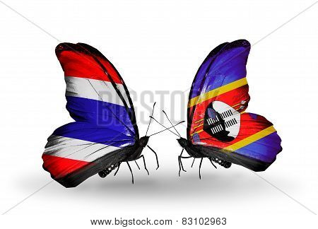 Two Butterflies With Flags On Wings As Symbol Of Relations Thailand And Swaziland