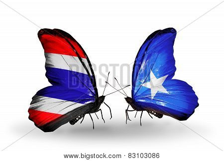 Two Butterflies With Flags On Wings As Symbol Of Relations Thailand And Somalia