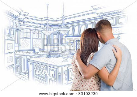 Curious Young Military Couple Looking Over Custom Kitchen Design Drawing.