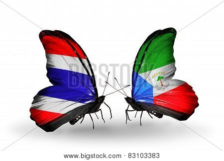 Two Butterflies With Flags On Wings As Symbol Of Relations Thailand And Equatorial Guinea