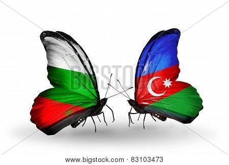 Two Butterflies With Flags On Wings As Symbol Of Relations Bulgaria And Azerbaijan