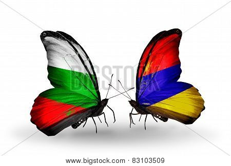 Two Butterflies With Flags On Wings As Symbol Of Relations Bulgaria And Armenia