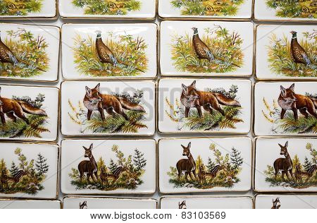Wild Animal Motifs On Handmade Porcelain Fridge Magnets. Hunting Souvenirs