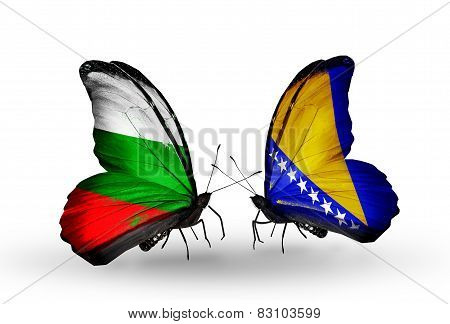 Two Butterflies With Flags On Wings As Symbol Of Relations Bulgaria And Bosnia And Herzegovina