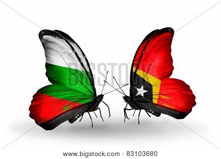 Two Butterflies With Flags On Wings As Symbol Of Relations Bulgaria And East Timor