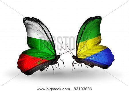 Two Butterflies With Flags On Wings As Symbol Of Relations Bulgaria And Gabon