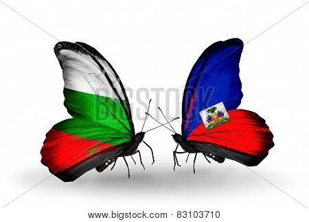 Two Butterflies With Flags On Wings As Symbol Of Relations Bulgaria And Haiti