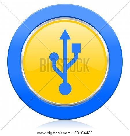 usb blue yellow icon flash memory sign
