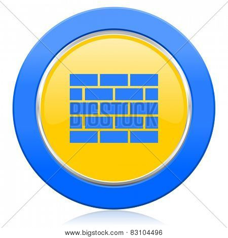 firewall blue yellow icon brick wall sign