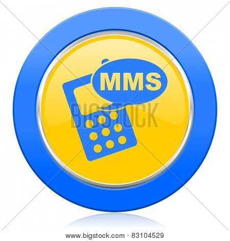 mms blue yellow icon phone sign