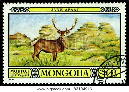Vintage  Postage Stamp. Stag In Zuun Araat Wildlife Preserves.
