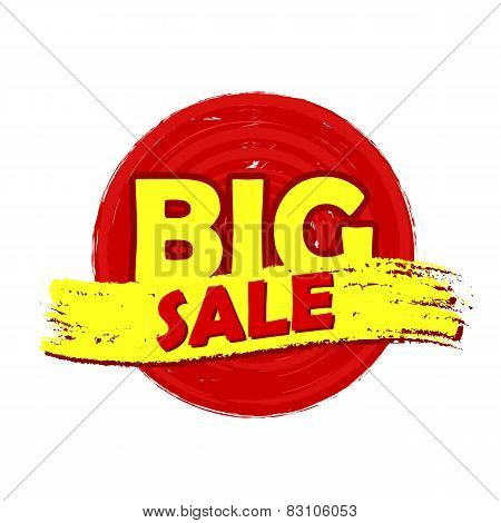 Big Sale Round Drawn Label
