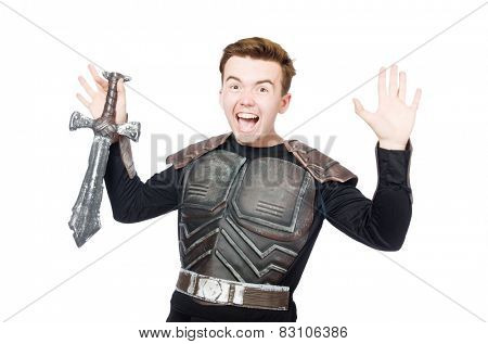 Funny knight isolated on the white background