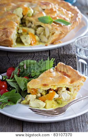 Chicken curry savory pie