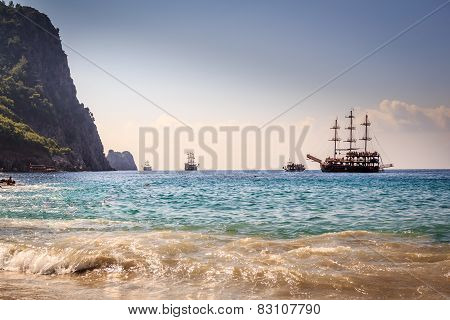 Ships on the beach of Cleopatra