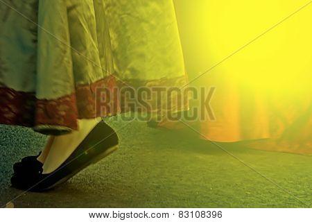 Minuet Dance In The Street On Autumn Sunset Light