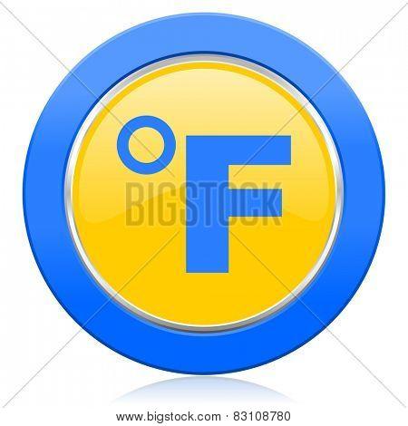 fahrenheit blue yellow icon temperature unit sign