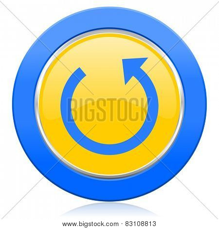 rotate blue yellow icon reload sign