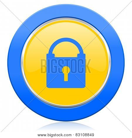 padlock blue yellow icon secure sign
