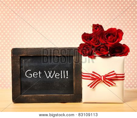 Get Well Message With Roses And Present Box