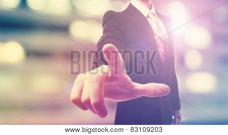 Businessman Touching A Touch Screen