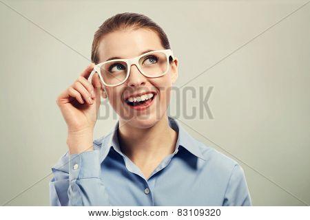 Beautiful Business Woman Wearing White Eye Glasses