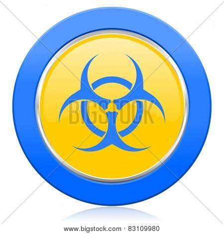 biohazard blue yellow icon virus sign